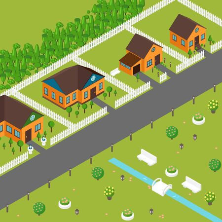 Isometric houses on suburb street, vector illustration. Private cottages in peaceful neighborhood, view from above. Game style town cozy houses and green lawns, isometric buildings of residential area