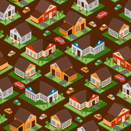Isometric houses in seamless pattern, vector illustration. Wrapping paper with town streets of residential district. Isolated isometric buildings for game design, suburb houses with lawns and cars