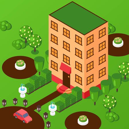 Isometric house multi storey building, vector illustration. Perspective view from above, facade of hotel or office, residential building. House with park, real estate project presentation, game style