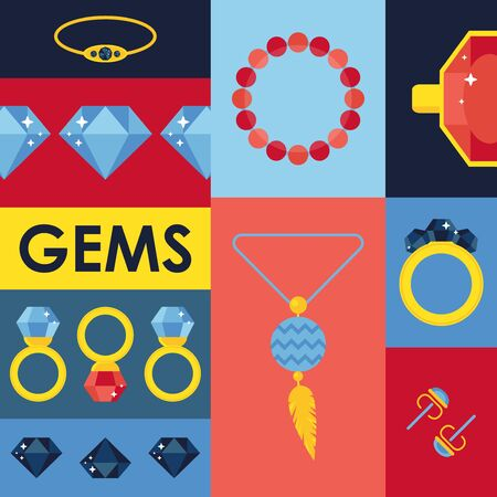 Jewelry gems in flat style, vector illustration. Isolated icons of gemstones and jewels in colorful collage. Set of simple stickers, jewelry store emblems, catalog cover. Fashion accessories for women 向量圖像
