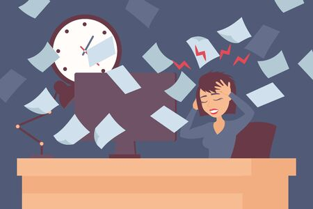 Stress at work, woman headache in office vector illustration. Paperwork deadline pressure, stressful job. Female manager cartoon character, business career, office employee. Stressed woman deadline Illustration