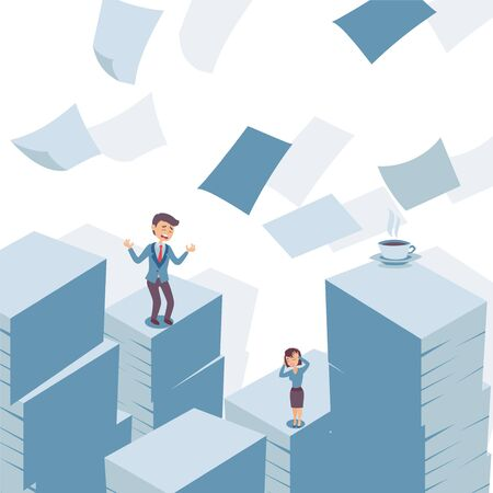 Tons of paperwork and stressed office employees vector illustration. Desperate man and woman lost in piles of documents, deadline at work, stressful bureaucracy. Concept of stress at workplace