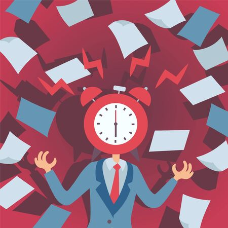 Concept of stress at work, man with alarm clock instead of head, vector illustration. Deadline at office stressful job, manager loses his temper, nervous breakdown at work. Stressed man throwing paper