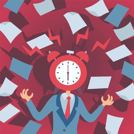Konzept des Stresses bei der Arbeit, Mann mit Wecker statt Kopf, Vektorillustration. Frist im stressigen Bürojob, Manager verliert die Beherrschung, Nervenzusammenbruch bei der Arbeit. Gestresster Mann, der Papier wirft