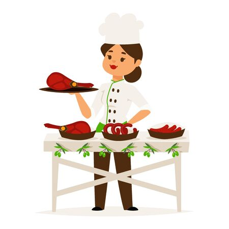 Woman cook chef presents luxury ham, restaurant catering vector illustration. Female cartoon character in chef uniform holding meat dish. Sausage restaurant presentation, woman professional cook