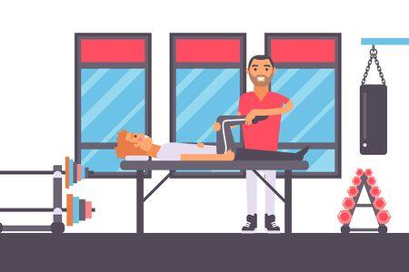 Massaggio fisioterapico per atleta infortunato, illustrazione vettoriale di riabilitazione sportiva in palestra. Terapia manuale professionale, personaggio dei cartoni animati in stile piatto medico sorridente, lesioni sportive di trattamento sanitario