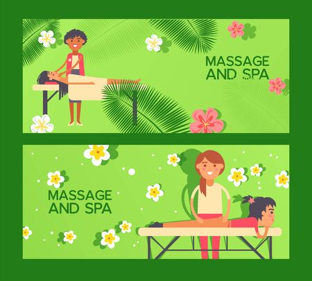 Massage at spa salon, healthcare treatment banner vector illustration. Relaxing body care procedure, professional masseuse cartoon character. Spa center invitation massage therapy advertisement banner Standard-Bild - 139172197