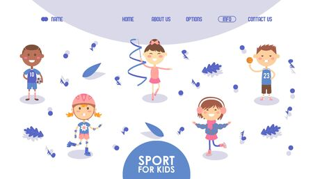 Sport for kids, happy active children, hobby section website vector illustration. Boys and girls cartoon characters playing football, basketball, skating and gymnastics. Healthy active childhood sport