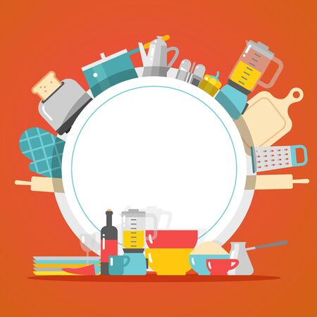 Kitchen cookware dishes and appliances household shop vector illustration. Kitchenware store catalog cover template, flat style icons in round frame copy space booklet. Cooking tools and accessories