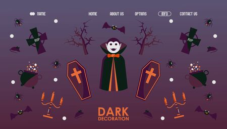 Halloween website design, vector illustration. Landing page template with traditional symbols of halloween vampire Dracula, coffin, spider, bat and dead tree. Cartoon style spooky icons and emblems