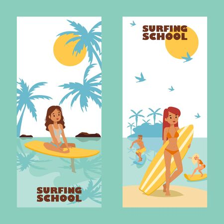 Surfing school advertising banner, vector illustration. Active summertime leisure, attractive girl with surfboard, cartoon character. Vacation on tropical island, young surfers, fun activity promotion