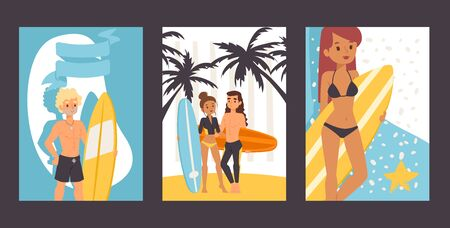 People with surfboards, vector illustration. Set of banners with cartoon characters, young surfers. Active summertime leisure, surfing school promotion, summer vacation adventures on tropical island