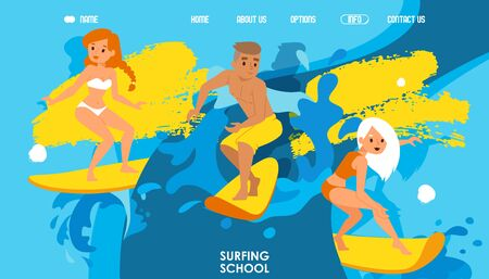 Surfing school website design, vector illustration. Landing page template in colorful cartoon style, attractive boys and girls riding waves on surfboards. Young surfer character, active summer sport