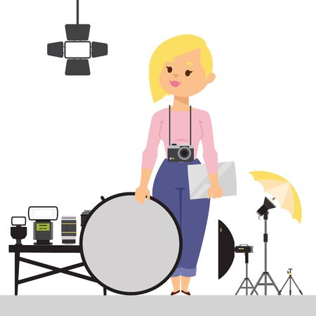 Woman photographer with studio equipment, vector illustration. Flat style cartoon character with photo camera and light reflector. Professional photography gear, set of accessories for photoshoot Illustration