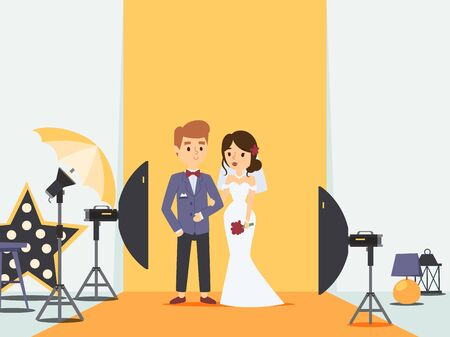 Bride and groom at wedding photoshoot in photo studio, vector illustration. Newlywed couple cartoon character, professional photography equipment. Husband and wife in wedding dress, studio light setup
