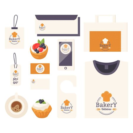 Bakery corporate identity items with emblem print, professional bakehouse accessories, vector illustration. Product label for bakeshop, business concept, icon print template for stationery and uniform