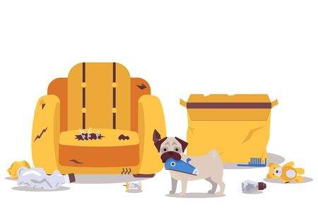 Dog alone at home destroys room furniture vector illustration. Naughty puppy causes mess in apartment, torn armchair, broken items on floor. Dog pet indoor, animal bad behavior, cartoon style design