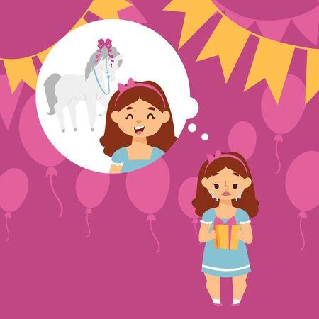 Ragazza che piange delusa con l'illustrazione di vettore del regalo di compleanno. Aspettative e realtà. La ragazza ha sognato un pony ma ha ricevuto una piccola confezione regalo per il compleanno. Bambino sconvolto, bambino triste che piange alla festa