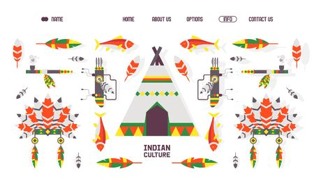 Native American indian culture icons for website vector illustration. Landing page template with isolated flat style icons of ethnic native American accessories, teepee tent, feathers and headdress