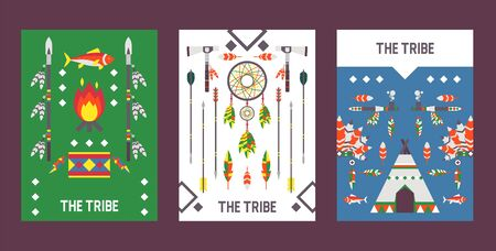 Native American indian culture banner with icons, vector illustration. Museum, exposition ticket, Indian style party invitation. Ethnic native American traditional symbols and ritual accessories