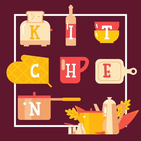 Kitchen typographic poster, cookware shop brochure cover vector illustration. Letters on kitchenware items, flat style icons in frame. Cooking items household store, toaster, saucepan, bowl and cup