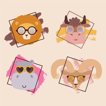 Animals in glasses cute cartoon characters portrait vector illustration. Glasses store promotion campaign for children, fashion accessory collection for kids. Cute animals lion, hippo, goat and cow