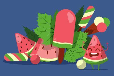 Ice cream with watermelon flavor, gelateria cafe advertisement vector illustration. Watermelon slice funny cartoon character, mascot of creamery summer campaign. Gelato shop promotion poster ice cream Standard-Bild - 140645661