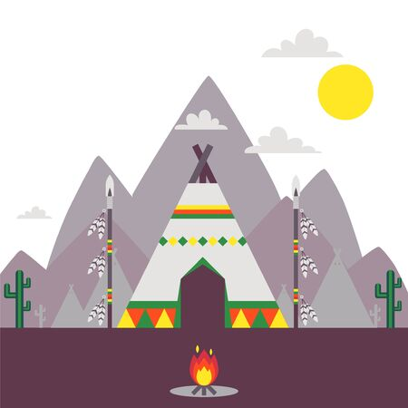 Native American indian tent, traditional teepee vector illustration. Simple landscape with mountains and ethnic American indian tribe village camp. Wigwam tent outdoors, spears with feathers, campfire