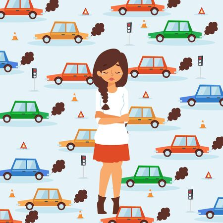 Sad girl in traffic, broken car accident vector illustration. Crying woman cartoon character, traffic problem, flat style cars on background. Upset girl in road chaos, transport delay, traffic jam
