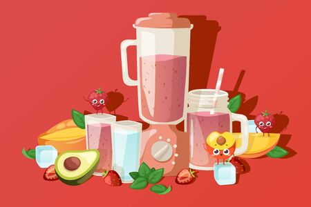 Fruit smoothie ingredients, fresh summer beverage, vector illustration. Cute mascot cartoon character, children menu in summer cafe. Organic smoothie recipe, fruit mix, natural healthy raw ingredients Stock Illustratie