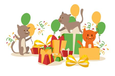 Funny cats and birthday present boxes, vector illustration. Cute kittens playing with holiday gift packages, surprise party celebration. Birthday card for cat lover, cartoon characters in simple style