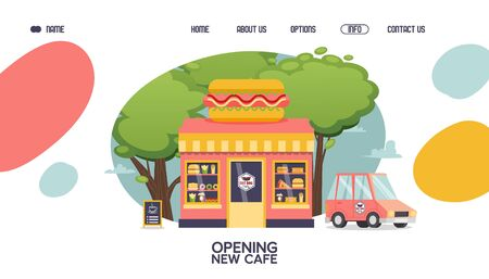 New hot dog cafe opening landing page layout or banner design vector illustration with fast food kiosk and delivery car. Cartoon style cafeteria with snack for meal like burger, fries, pizza, donut.