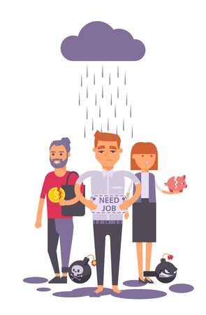 Unemployed businessman with i need job sign vector illustration. Unemployment crisis for employee people cartoon character. Business woman with broken piggy bank, fired from work man under storm cloud