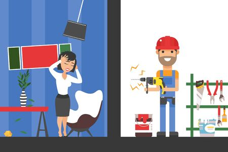 Drill noise from repairman drilling the wall in neighbourhood apartment is loud and makes woman stressed vector illustration. Female cartoon character suffers from sound of construction holding head.