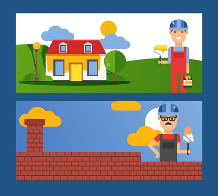 Bricklayer and painter flat cartoon characters with tools working on construction vector illustration for banner. Mason worker with tool works on brick wall. Builder paints the house in yellow smiling