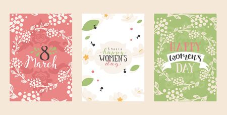 Set of abstract floral banners, greeting card template, vector illustration. Happy womens day, birthday or wedding card, event invitation. Romantic botanical background, spring flowers for womens day
