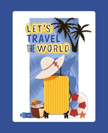 Travel typography poster, inspirational card, vector illustration. Bag packed for summer vacation at seaside. Suitcase ready for departure, leisure accessory, summer vacation hat. Motivational phrase