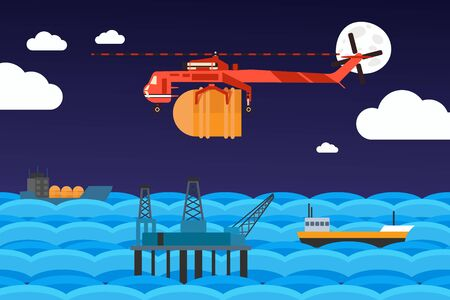 Cargo helicopter carries barrel to offshore oil rig, vector illustration. Industrial aircraft in flat cartoon style, cargo ships in ocean. Offshore oil pump platform, gas supply logistic network