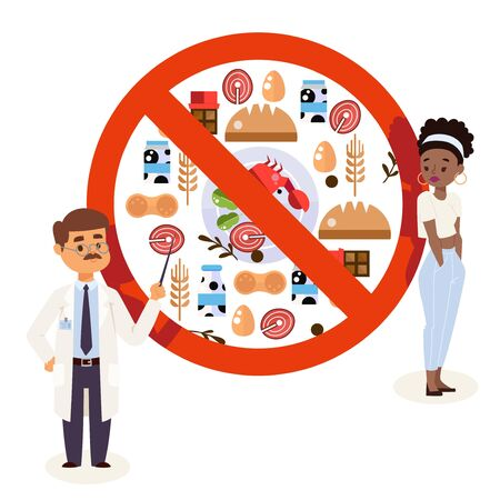 Flat style icons of food allergy triggers, doctor and patient cartoon characters, vector illustration. Doctor explaining allergens food restrictions to patient, upset woman allergic to products