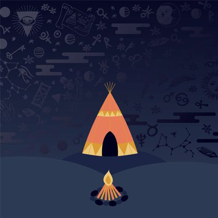 Teepee tent and campfire at night, astrology symbols in the sky, vector illustration. Mysterious night in ethnic tribe, ancient beliefs in magic and destiny. Star constellations in sky, tribal tent Illustration