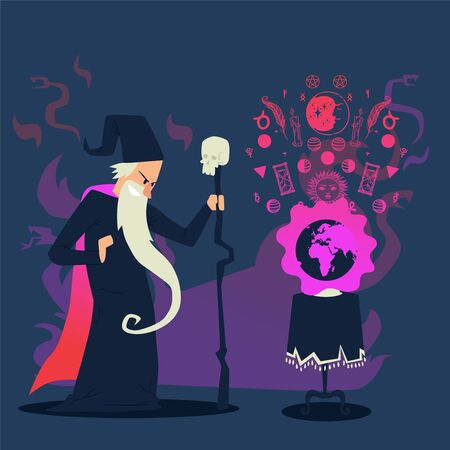 Evil wizard casting spell on planet Earth, cartoon character vector illustration. Old sorcerer with long beard and magic staff. Angry wizard cast spell with occult runes, magic symbols, evil sorcerer