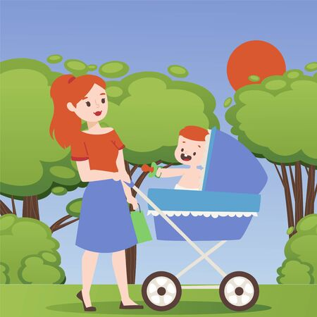Mother walking in park with baby stroller, vector illustration. Young woman cartoon character strolling outdoor with newborn child. Mom spends time with her baby in summer nature, happy parent
