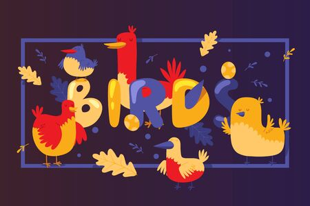 Birds cartoon banner design vector illustration with cute yellow and red birdies, leaves and eggs on blue background for sweet invitation card, fun baby nursery decoration, children book or kid print.