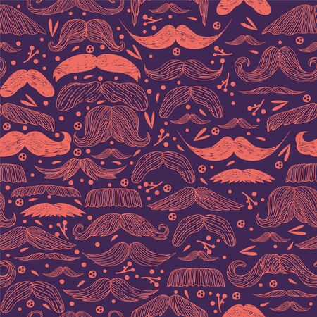 Mustache seamless pattern vector illustration for retro background design with vintage style hipster man moustache. Doodle decoration. Wallpaper, wrapping paper, father day greeting card template.