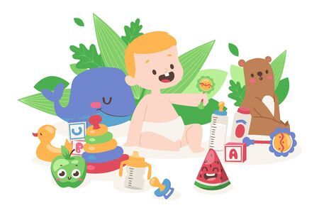 Baby playing with toys, vector illustration. Cute little boy cartoon character surrounded by toys and games. Birthday presents, gifts for newborn kid. Happy childhood, adorable little baby boy Stock Illustratie