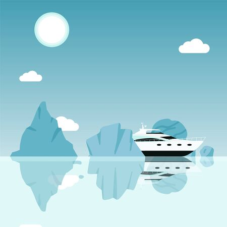 Yacht sailing between icebergs in ocean, cruise trip around rocks in sea, vector illustration. Modern luxury yacht in dangerous environment, sea navigation in arctic sea. Boat travel to ocean iceberg Stock Illustratie