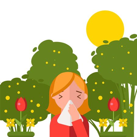 Pollen allergy, sneezing girl in spring nature, vector illustration. Simple trees and flowers, woman cartoon character in flat style. Allergy triggers in nature, flower pollen causes allergic reaction