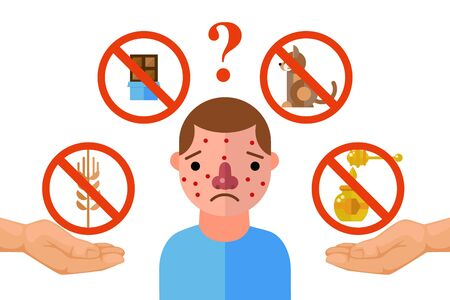 Allergy triggers, unhappy man suffering from allergic reaction, vector illustration. Flat style icons of allergens, chocolate, animal fur, honey and wheat. Sad man with skin rash, set for infographic