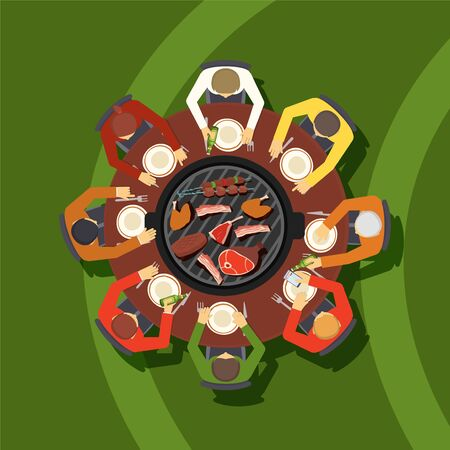 People around table in meat restaurant, view from above, vector illustration. Grilled meat on barbecue brazier, team lunch, men with plates at table. Group of people in barbeque restaurant, flat style