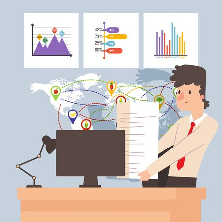 Work in office, manager of logistic company with paperwork, vector illustration. Businessman cartoon character holding pile of papers. Deadline at job, office worker in international organization